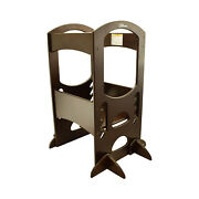 Little Partners Kid Learning Tower Adjustable Height Wooden Step Stool Espresso