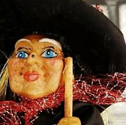 Witch Mini Tree Topper Paper Mache Broom Mystic Gothic Halloween 7 Wicked