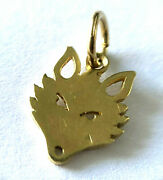 14k Solid Yellow Gold Wolf Wild Animal Ladies Pendant Lovely Charm