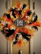 Candy Corn Eat Drink And Be Scary Halloween Wreath