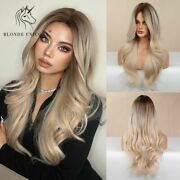 Long Wavy Wig Brown Light Blonde Platinum Cosplay Daily Natural Heat Resistant