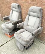 1997 Chevy Express Custom Craft Van Pair Gray Cloth Front Seats Captain Chairs