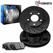 Front Eline Series Black Drilled And Slotted Brake Rotors + Ceramic Pads A5363