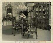 1983 Press Photo Antique Dining Table With Cane Back Chairs Buffet And Sidboard