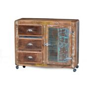 Cromer Retro Style Recycled Wood 3drawer Chest Of Drawer On Wheelmade To Order