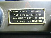 Us Army Signal Corps Radio Receiver And Transmitter Bc-611-e