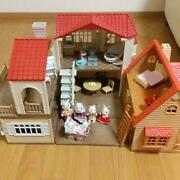 Large House With Red Roof First Sylvanian Family Furniture Doll Set