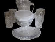 Tupperware Ice Prism Set Clear Pitcher/ 4tumblers 16oz/ 4 Plates/ 4 Bowls 2 Cups