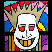 Original Abstract Drawing Spiked White Mask With Sunrise Eyes Comic Avant Art