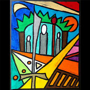 Original Drawing Ink And Oil Pastel Abstract Dream Saint Psychedelic Neon Color