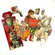 Vintage 1980s Old World Victorian Christmas Die Cut Cardboard Decorations 9 Lot