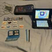 Nintendo 3ds Xl +15 Games Pokémon Huge Lot Red Gaming System +charger And Stylus