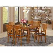 7-piece Dinette Set - Dining Table And 6 Kitchen Chairs In Faux Leather Psav7-sb