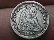 1849/6 P Seated Liberty Half Dime- 9 Over Widely Placed 6, Xf Details