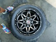 Black Rims, All Terrain Tires Slightly Used For A Ford Or Chevy 6 Lug Universal