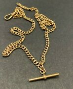 Superb Antique Solid 9ct Rose Gold Albert T-bar Chain Necklace 8g