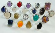 100 Natural Mix Gemstone Jewelry Rings 925 Sterling Silver Overlay
