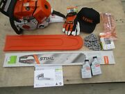 New Stihl Ms500i Fuel Injected Chainsaw W/ 25 Es Bar And 2 Chains -plus Xtras