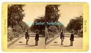 New York City Nyc -men Talking On The Mall-central Park- Large Stereoview