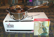 New In Box All-clad Copper Core 3 Quart Covered Saucepan With Warranty+brochure