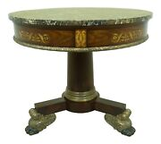 L53203ec Maitland Smith Round Marble Top Empire Style Center Table