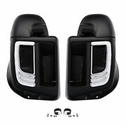 Matte Lower Vented Fairings Grilles W/led Light Fit For Harley Touring 14-later