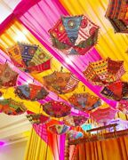Wholesale Lot Indian Wedding Decoration Embroidery Umbrellas Christmas Party