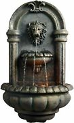 Royal Lion Head Wall Mount Fountain W/ Built-in Pump And Led Light Outdoor Decor