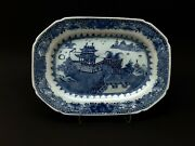 Circa 1750 Superb Qianlong Chinese Hand Painted Blue And White Porcelain Platter.