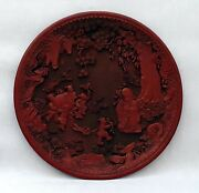 Chinese Circular Red Lacquered Old Man And 4 Children