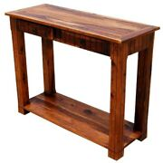 Boston Indian Solid Wood 2 Storage Drawer Console Hall Table Made To Order