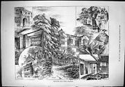 Old Sporting Dramatic News 1884 Fountains Hall Ripon Yorkshire Archit Victorian