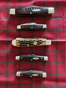 Five- Used Case Pocket Knives Made In U.s.a.