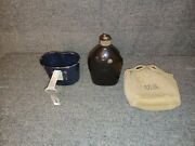 Us Wwii 1942 Dated Set Of Blue Black Enamel Canteen, Cup And Cover Original