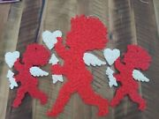 3 - Very Nice Vintage Melted Plastic Popcorn Decorations-valentine's Day Cupid