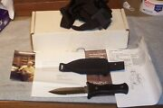Bench Mark Boot Knife Double Edge With Shoulder Rig Nib Made In The Usa