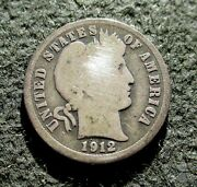 Old Silver Us 10 Cents 1912 Coin Barber Dime Philadelphia Mint Ag