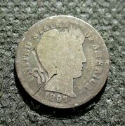 Old Silver Us 10 Cents 1897 Coin Barber Dime Philadelphia Mint Ag