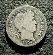 Old Silver Us 10 Cents 1904 Coin Barber Dime Philadelphia Mint Ag A
