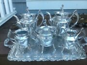 Ultra Rare 1870and039s Reed And Barton 2626 Silver Plate 5 Piece Tea Set-excellent