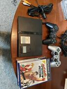Sony Ps2 Slim Black Scph-77004 Pal Region Console Controllers Games Memory Cards