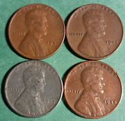 Rare Old 1941 1942 1943 1944 Wwii Us Steel Copper Penny Coin Vintage War Lot Ww2
