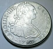 1793 Mexico Silver 8 Reales Genuine Antique 1700and039s Spanish Colonial Dollar Coin
