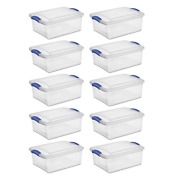 Large Clear Plastic Storage Box Organizer Containers Bin With Lid Pack Of 10