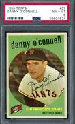 1959 Topps 087 Psa 8 Danny O'connell Giants 87