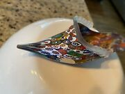 Vintage Murano Italy Millefiori Frosted Glass Shoe