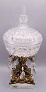 Marble Brass Metal Pedestal Italy Glass Compote Candy Dish Crystal Bowl W/ Lid