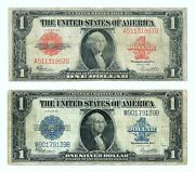 1923 1 Red Seal Legal Tender And 1923 1 Silver Certificate Large Size Notes