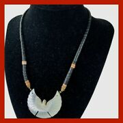 Vintage Native Black Heishi Mother Of Pearl Carved Thunderbird Necklace Choker
