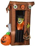 Animated Airblown Door Opening Spooky Outhouse W/monster Scene, 6 Ft Tall,